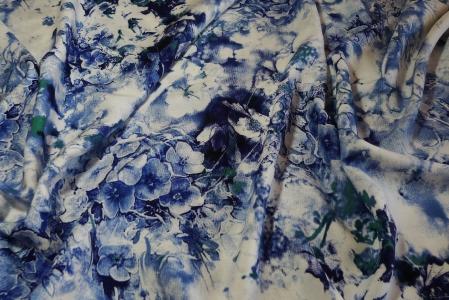 штапель,принт,голубые цветы